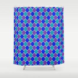 Retro Disco Jeweled Drops Pattern - Blue Purple Teal Shower Curtain