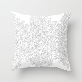 Metal Lace – silver grey on white Throw Pillow
