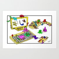 Bugs on the Workstation Art Print