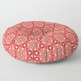 Vintage Poppy Red and Old Cream Drawn Flower Linear, with Black Seed Pods Floral Floor Pillow