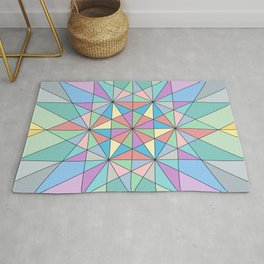 Colorful Pastel Mosaic Triangle Star Pattern Rug