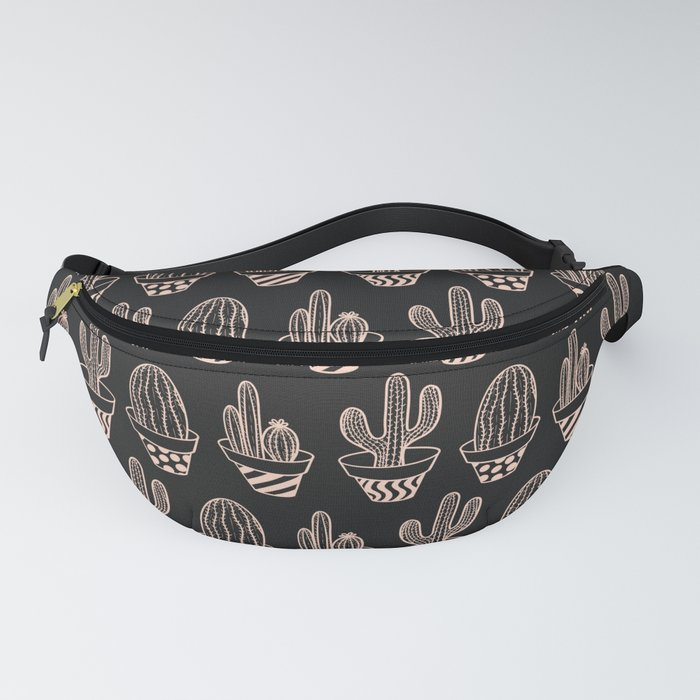 Cute Black Blush Pink Potted Cactus Pattern Fanny Pack