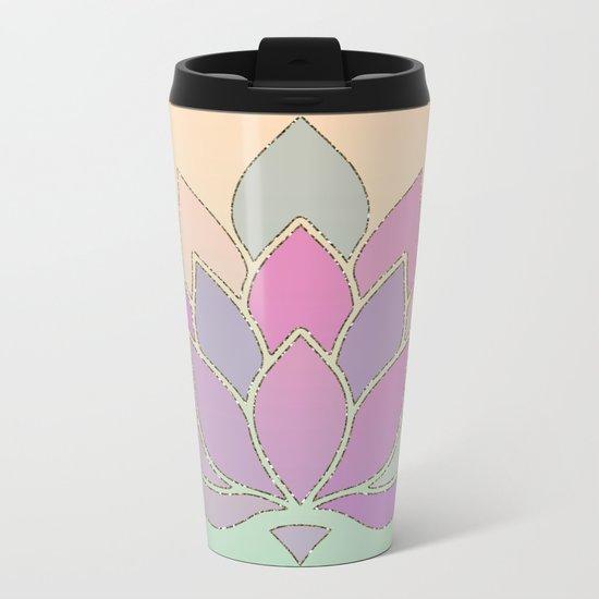 Lotus Flower Pastel Meditation Yoga Symbol Metal Travel Mug