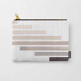 Grey Minimalist Mid Century Modern Inca Watercolor Stripes Staggered Symmetrical Pattern Carry-All Pouch