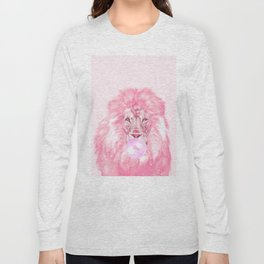 Lion Chewing Bubble Gum in Pink Long Sleeve T-shirt