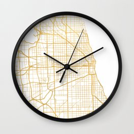 CHICAGO ILLINOIS CITY STREET MAP ART Wall Clock