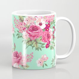 Cottage Chic Roses and Lilacs Floral in Aqua and Pink Coffee Mug