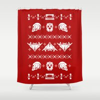 starlord Shower Curtains featuring Merry Christmas A-Holes by Perdita