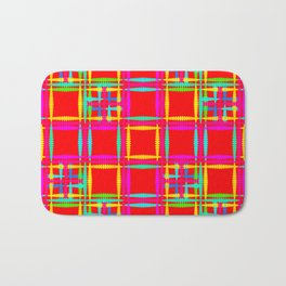 Oriental pattern of neon squares and curly crosses on a red background. Bath Mat