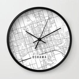 Oshawa Map, Canada - Black and White Wall Clock