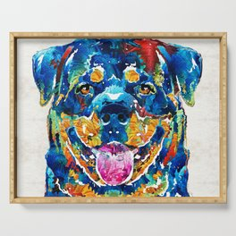 Colorful Rottie Art - Rottweiler by Sharon Cummings Serving Tray