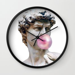 Marble sculpture Art, statue of David blowing pink gum Wall Clock