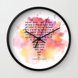 1 Corinthians 13 Love is Patient Wall Clock