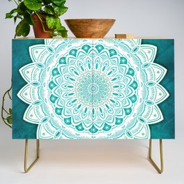 White Mandala on Blue Green Distressed Background with Detail and Textured Credenza