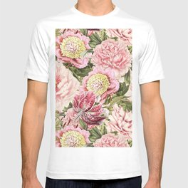Vintage & Shabby Chic Floral Peony & Lily Flowers Watercolor Pattern T-shirt