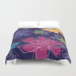Floral - #Bright #Flowers #Abstract #Pattern Duvet Cover