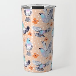 Spring Pigeons on Peach with Flowers and Spots Travel Mug