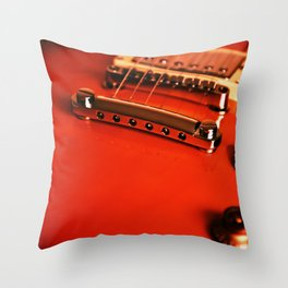 Six Strings On Red Throw Pillow