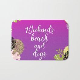 Weekends Beach And Dogs Summer Bath Mat