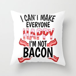 Bacon ham meat grilling steak joke gift Throw Pillow