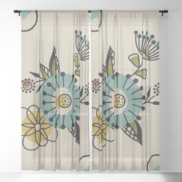 Mid Century Modern Flowers Sheer Curtain