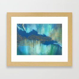 Golden Blue Lines Framed Art Print