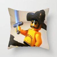 gladiator Throw Pillows featuring SPARTACUS THE GLADIATOR CUSTOM LEGO MINIFIG by Chillee Wilson by Chillee Wilson [Customize My Minifig]