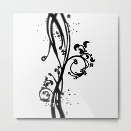 Swirl Leaves - Drawing Metal Print
