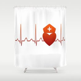 NURSE HEARTBEAT Shower Curtain