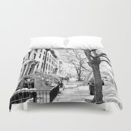 Cobble Hill Brooklyn Winter Black and White Brownstone Duvet Cover