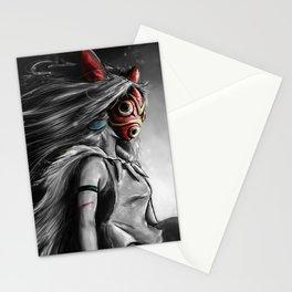 Miyazaki's Mononoke Hime Digital Painting the Wolf Princess Warrior Color Variation Stationery Cards