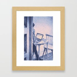 Drawing of woman working on a laptop in a cafe. Illustration Framed Art Print