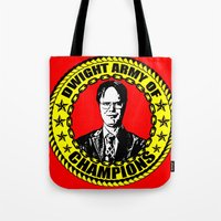 dwight schrute Tote Bags featuring Dwight Schrute (Dwight Army Of Champions) by Silvio Ledbetter