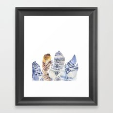 Watercolor bohemian feathers Framed Art Print