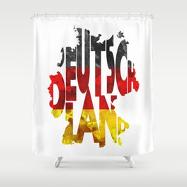 Deutschland Typographic World Map / Germany Typography Flag Map Art Shower Curtain