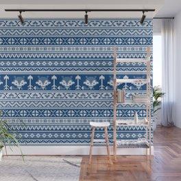 Fair Isle Fox Blue - White Wall Mural