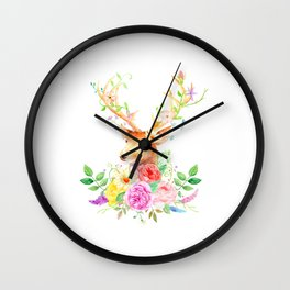 Watercolor Deer and Rose Bouquet Wall Clock
