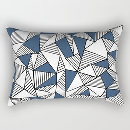 Abstraction Lines with Navy Blocks Rectangular Pillow