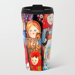 Culture. Group of matrioska, or babushka, symbol of maternity from Russia. Travel Mug
