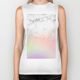 Modern white marble unicorn rainbow ombre gradient Biker Tank