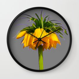 CONTEMPORARY GOLDEN YELLOW CROWN IMPERIAL FLOWERS Wall Clock
