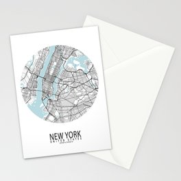 New York City Map of the United States - Circle Stationery Cards