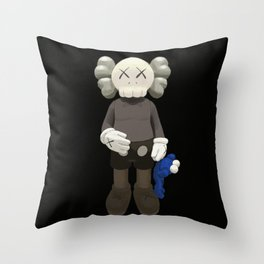 Watercolor Kaws with cookie monster Throw Pillow
