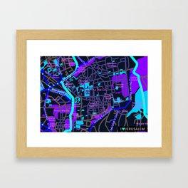 Jerusalem Map , Israel Framed Art Print