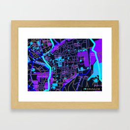 Jerusalem Map , Israel Framed Art Print