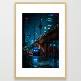 Cyberpunk Seoul Framed Art Print