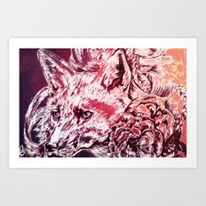 Fox with flowers Art Print