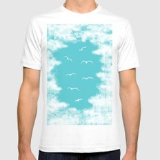 Seabirds and Clouds White Mens Fitted Tee MEDIUM