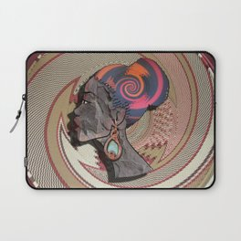 African woman profile on a woven basket Laptop Sleeve