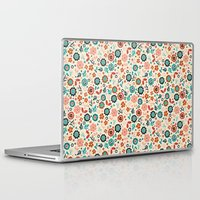 folk Laptop & iPad Skins featuring Folk Flowers by Anna Deegan